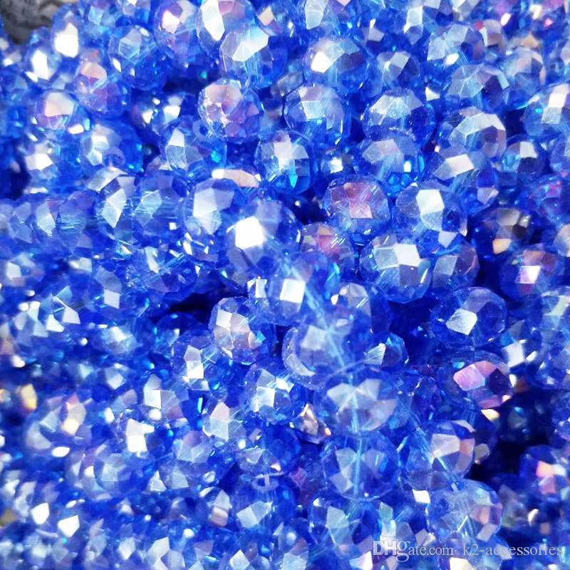 100pcs / lot azul real 8m m AB de cristal biselado rondelle los granos del espaciador fabricación de la joyería de bricolaje