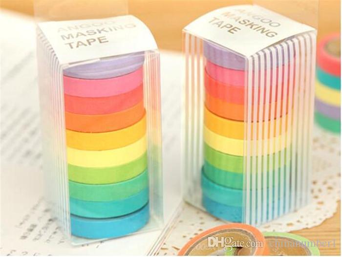 2016 mode bricolage brillant bonbon de couleur solide ruban de masquage ruban lavabo ruban de papier ruban de ruban washi c156