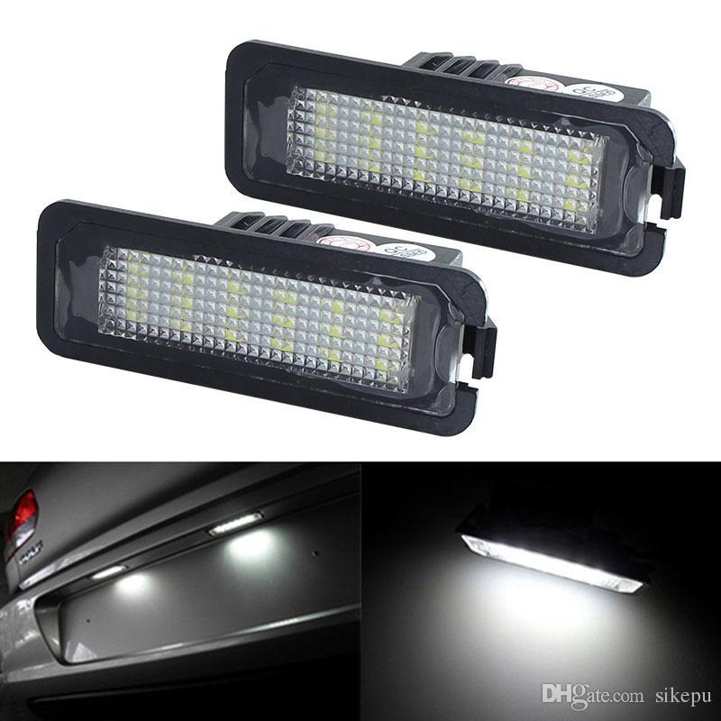 2 Stück LED Kennzeichenbeleuchtung Glühbirne Canbus Für VW Volkswagen CC Golf 4 5 6 GTI R32 Eos Kaninchen Scirocco 987 Weiße Nummernschild Lampe