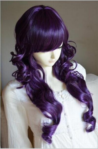 Free shipping++++Purple WigTimeNew Arrival Duchess Style Heat Friendly Long Curly Cosplay Party Hair Wig