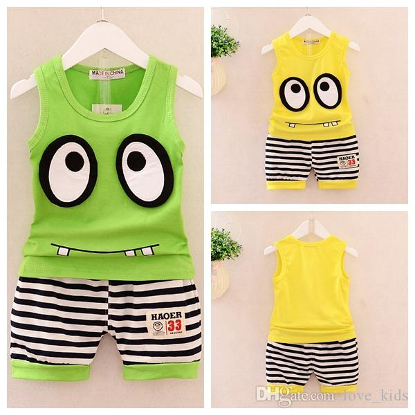 Children Kids Baby Girl Striped Cartoon Vest Top Shirt+Shorts Set Outfit Clothes