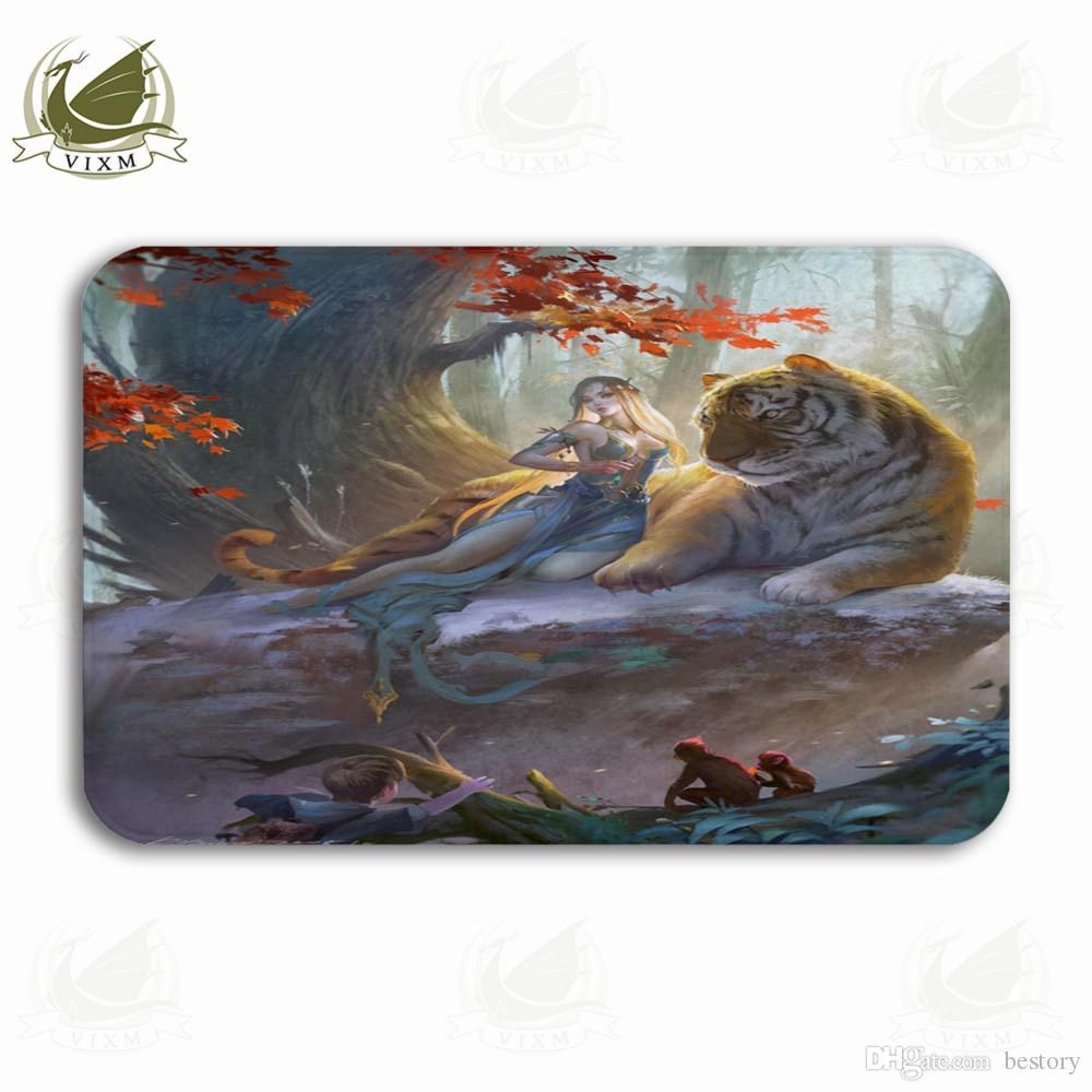 Vixm Original Anime Illustration Tiger In The Forest Welcome Door Mat Rugs Flannel Anti-slip Entrance Indoor Kitchen Bath Carpet