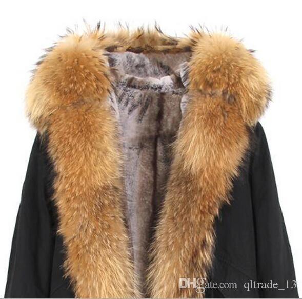 Moda pele marrom Jazzevar guarnição mulheres marca neve casacos forro destacável raposa e de pele de coelho forro marrom mini-parka preto com fox Placket pele