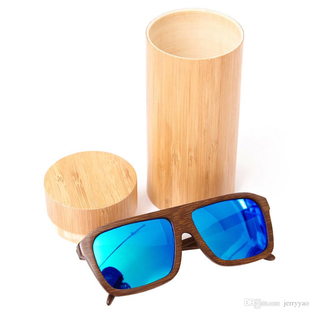 2018 new hot selling Vintage Bamboo Wooden Sunglasses Handmade Polarized Mirror Coating Lenses Eyewear sport glasses