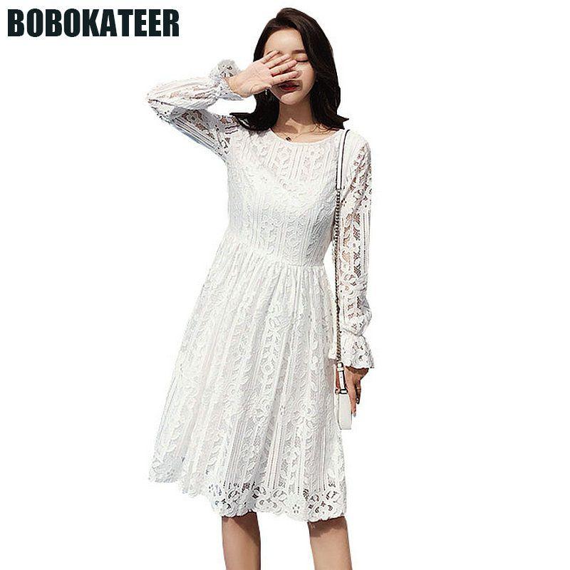 BOBOKATEER Vestido de Verão Mulheres Vestidos Casuais Branco Sexy Praia Rendas Vestido de Manga Comprida Mulheres Vestidos Sukienka Robe Femme 2018