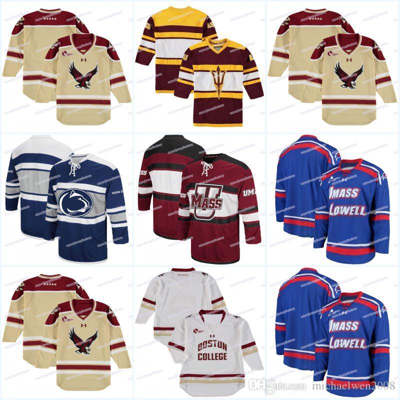 Hombres UMass Bos Beacons Colosseum Open Net II Jersey de hockey Jersey Jersey UMass Lowell River Hawks Hockey sobre hielo Jerseys