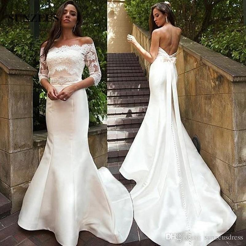 Vestiti Da Sposa A Sirena.Sexy Low Back Mermaid Wedding Dresses With Appliques Jacket Beaded