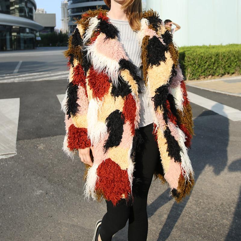 Asymmetry Long Fake Fur Coat Women Rabbit Furs Coats Fox Rabbit Fur Parka Woman Multiple Patchwork Outwear Female SWQ0137-5