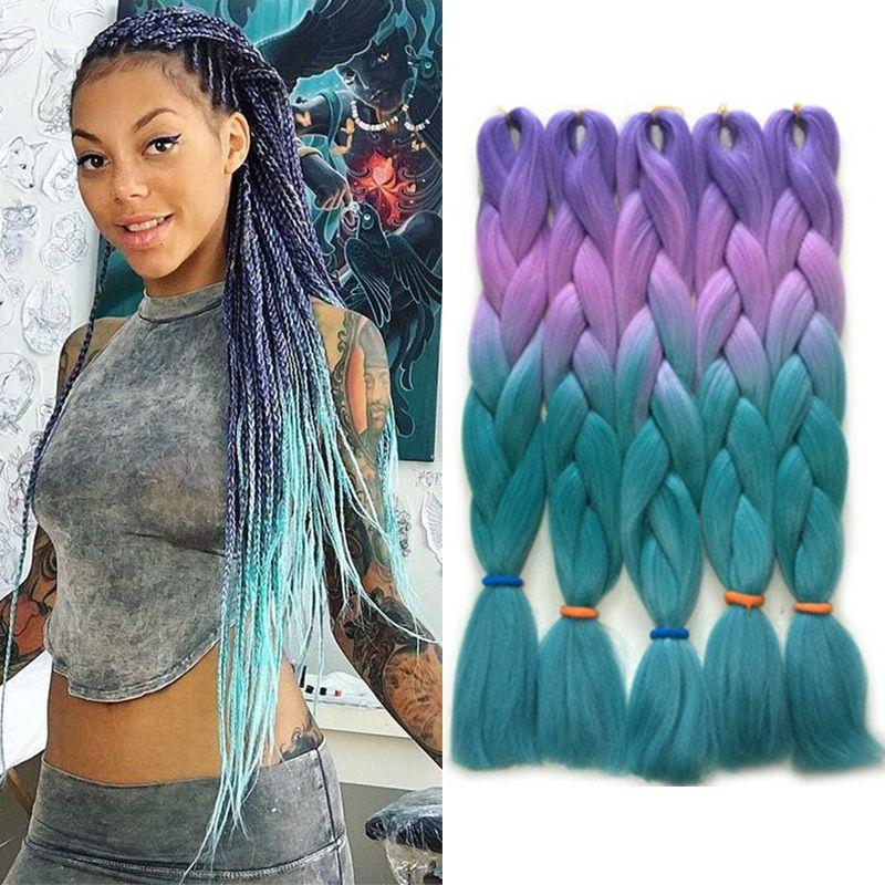 Púrpura Azul Verde Cuatro Tonos Ombre Color Xpression Extensiones de cabello trenzado Kanekalon Fibra de alta temperatura Trenzas de ganchillo Cabello 24 pulgadas 100 g