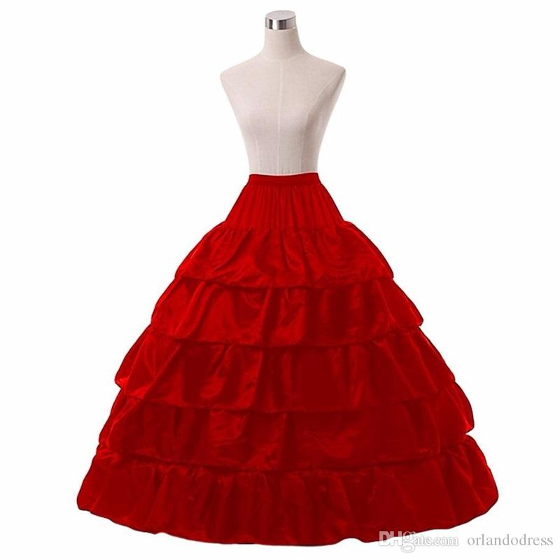 Brand New Petticoats Big Ball Gown 5 Layers 4 Hoops White/Black/Red Wedding Slip Underskirt Crinoline For Formal Wedding Dresses