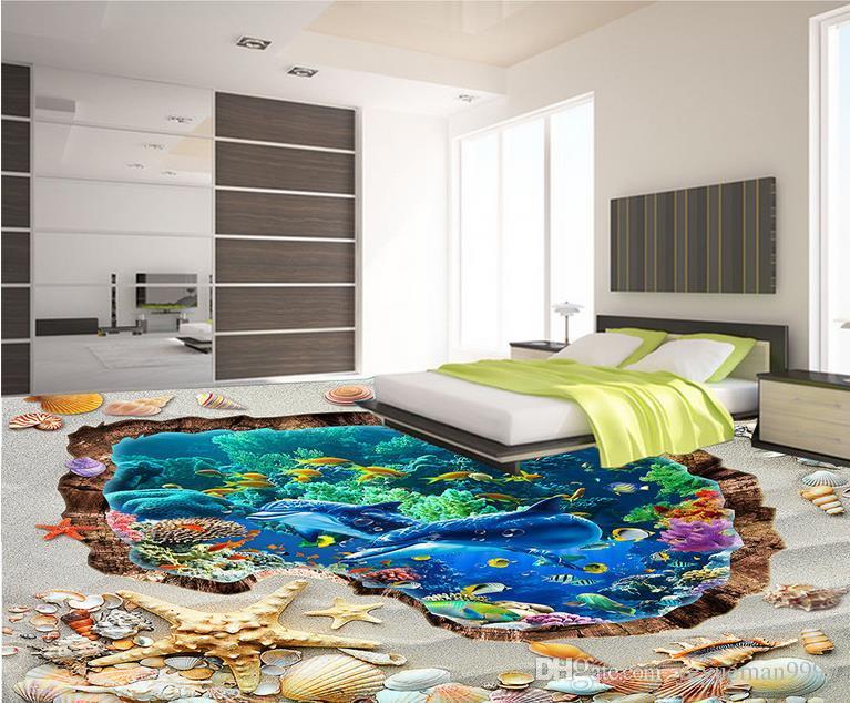 Personalizado foto chão papel de parede 3d fundo da praia sala de estar quarto banheiro piso mural papel de parede auto-adesivo