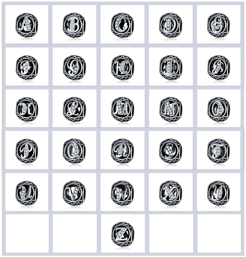 Plata 26 letras de abalorios para hacer joyas orificio grande espaciador suelto perlas del alfabeto encantos DIY Craft joyería que hace suministros para la pulsera de cuentas