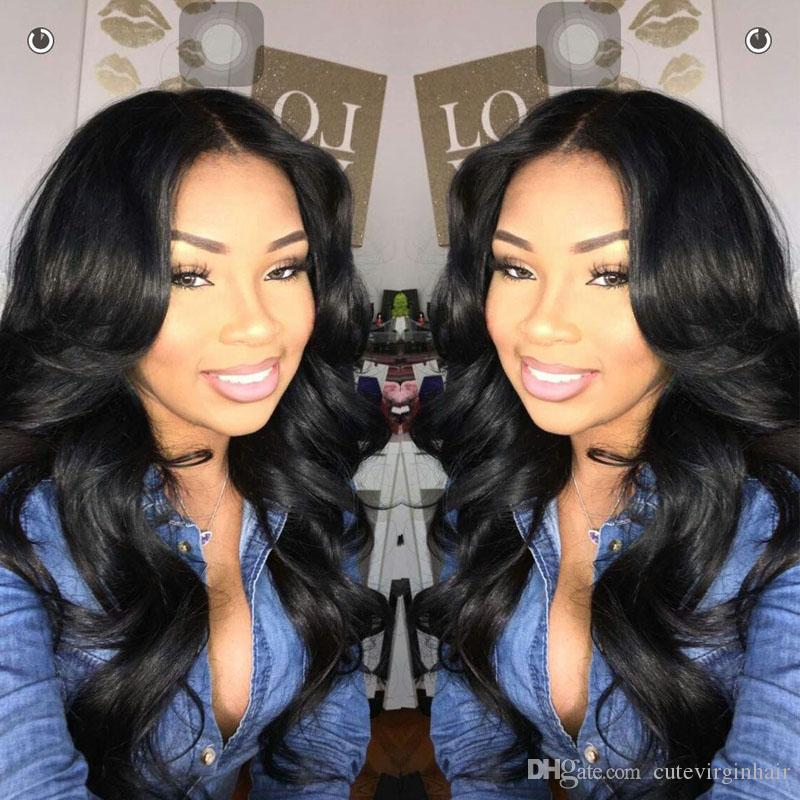 100% Brazilian Malaysian Peruvian Human Hair Body Wave Wigs Unprocessed Pre Plucked Lace Frontal Wigs with Baby Hair Length 12-24 Inch