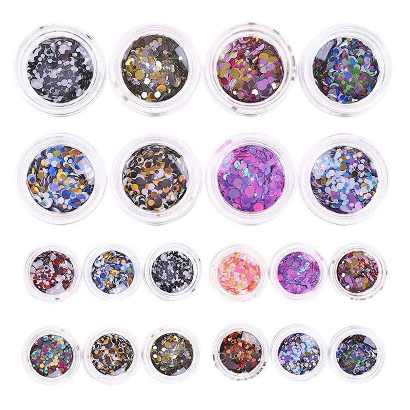 1pc Round Nail Colorful Sequins Laser Bright Flake Eye Glitter Manicure Paillette Art Nail Tools