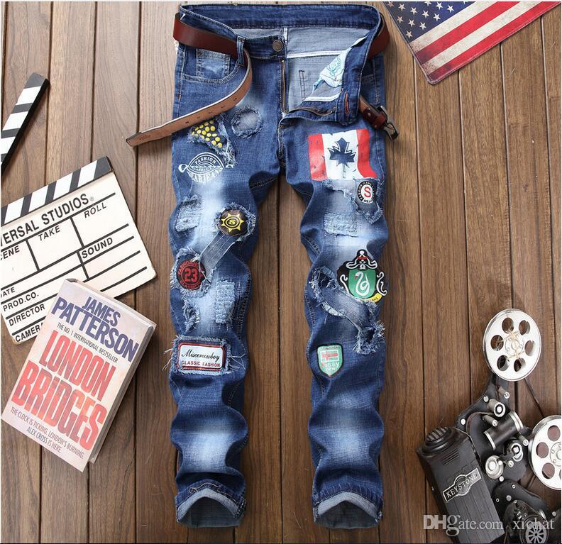 2018 осенние джинсы большого размера новый мужской промытые печати отверстие джинсы денима краски брюки случайные Streight джинсы ноги Бесплатная доставка размер 29-38 CJ1806
