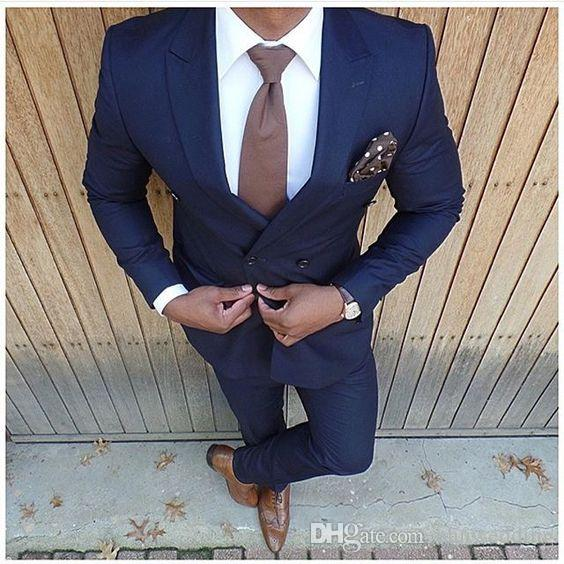 Custom Dark Blue Men Suits 2018 Wedding Slim Fit Groom Tuxedos Groomsman Suits Business Suits(Jacket+Pants)