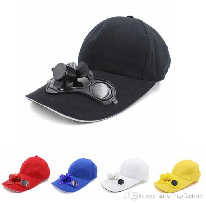 05f96c929 2019 Solar Power Hat Cap Cooling Fan For Golf Baseball Sport Summer ...