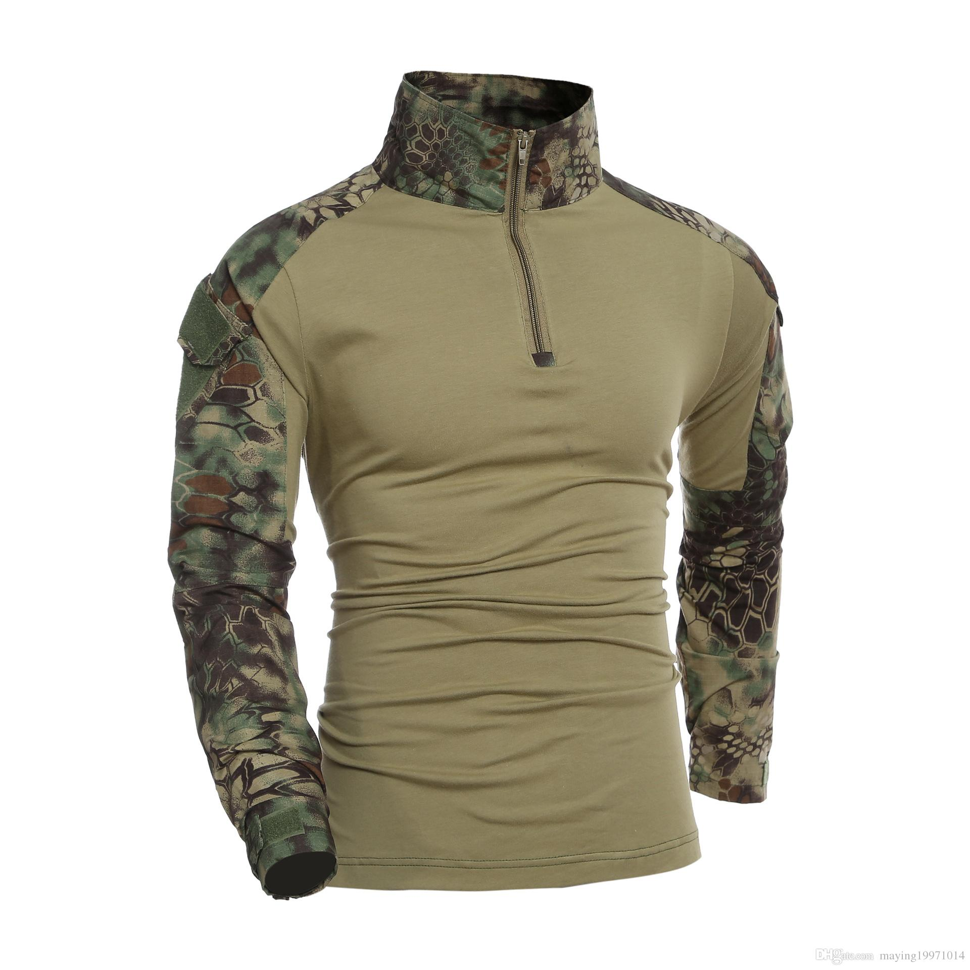 Camouflage T-Shirt Military Army Combat T Shirt Men Long Sleeve US RU Soldiers Tactical T Shirt Multicam Camo Tops