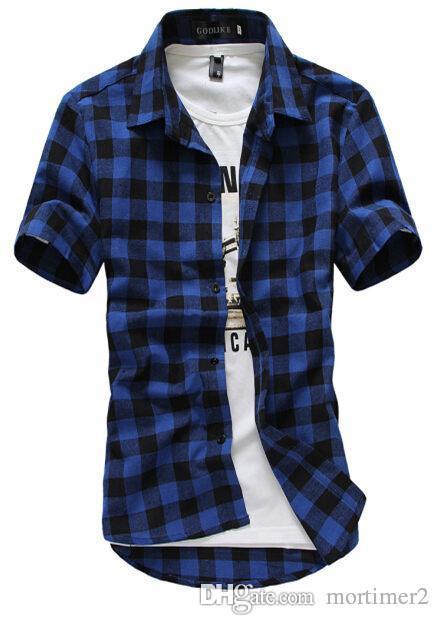 Rot Und Schwarz Kariertes Hemd Männer Shirts 2016 Neue Sommermode Chemise Homme Herren Checkered Shirts Kurzarm Shirt Männer Billig