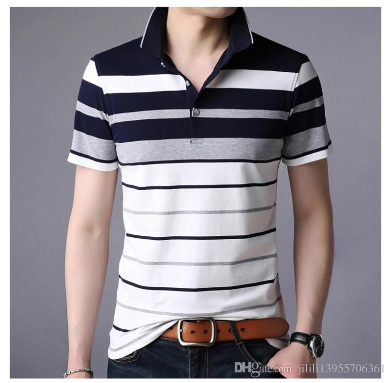 Frieed Mens Cotton Short Sleeve Lapel Striped Buttons Polo Shirt