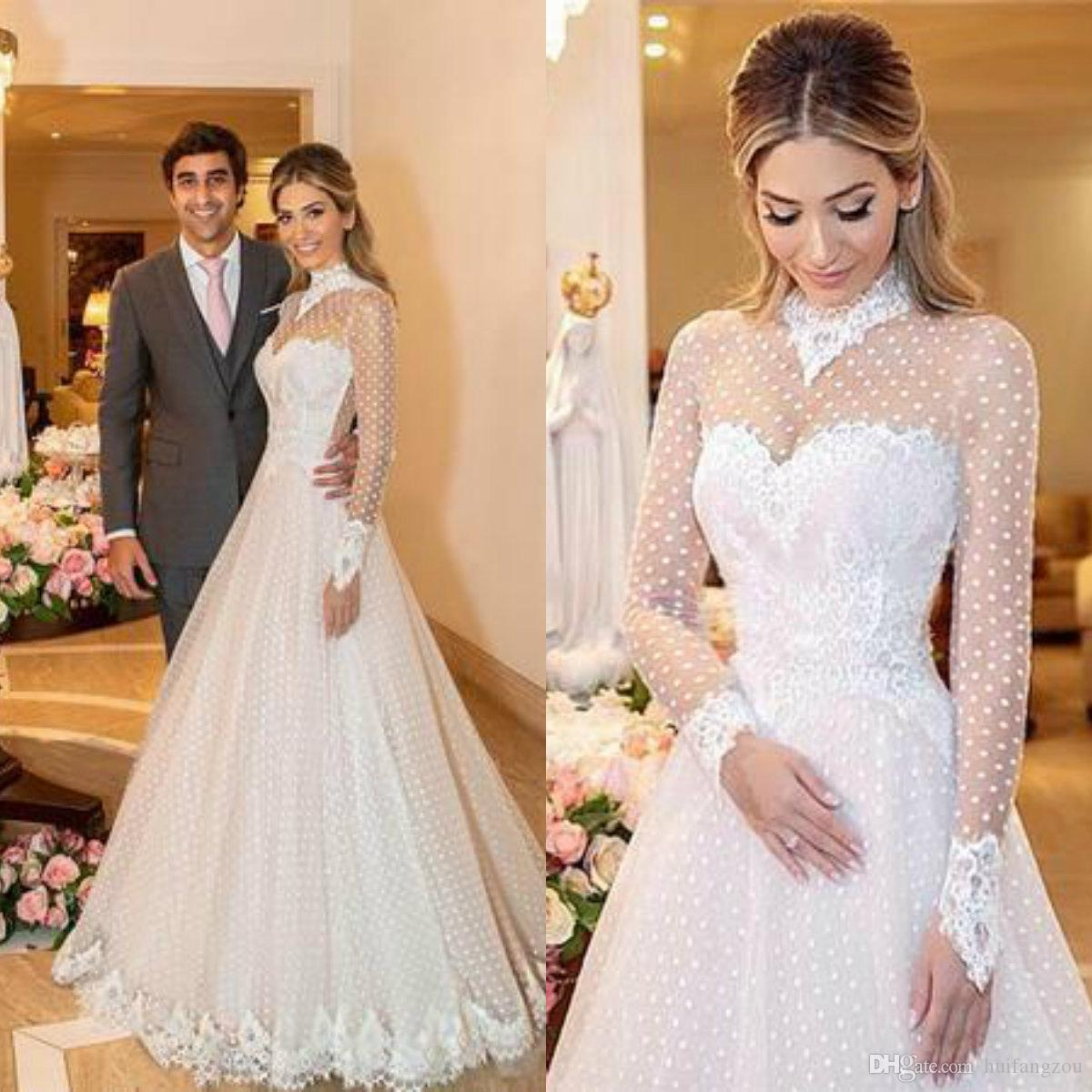 discount 2019 spring high collar wedding dress lace long sleeves dot tulle  garden wedding dresses appliques high quality bridal gowns designer wedding