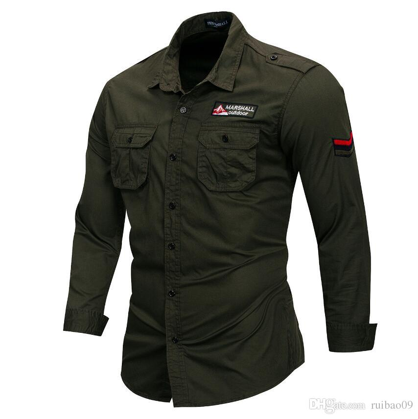 reunirse bd689 0e837 Compre Nuevo 100% Algodón Camisa Militar Hombre Camisa Casual De Manga  Larga, Transpirable, Hombre Camisa Sólida Con Bordado A $15.23 Del Ruibao09  | ...