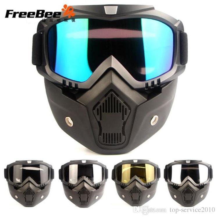 Atacado Harley motocicleta óculos homens e mulheres personalidade retro locomotiva meia capacete máscara de equitação óculos máscara cross country