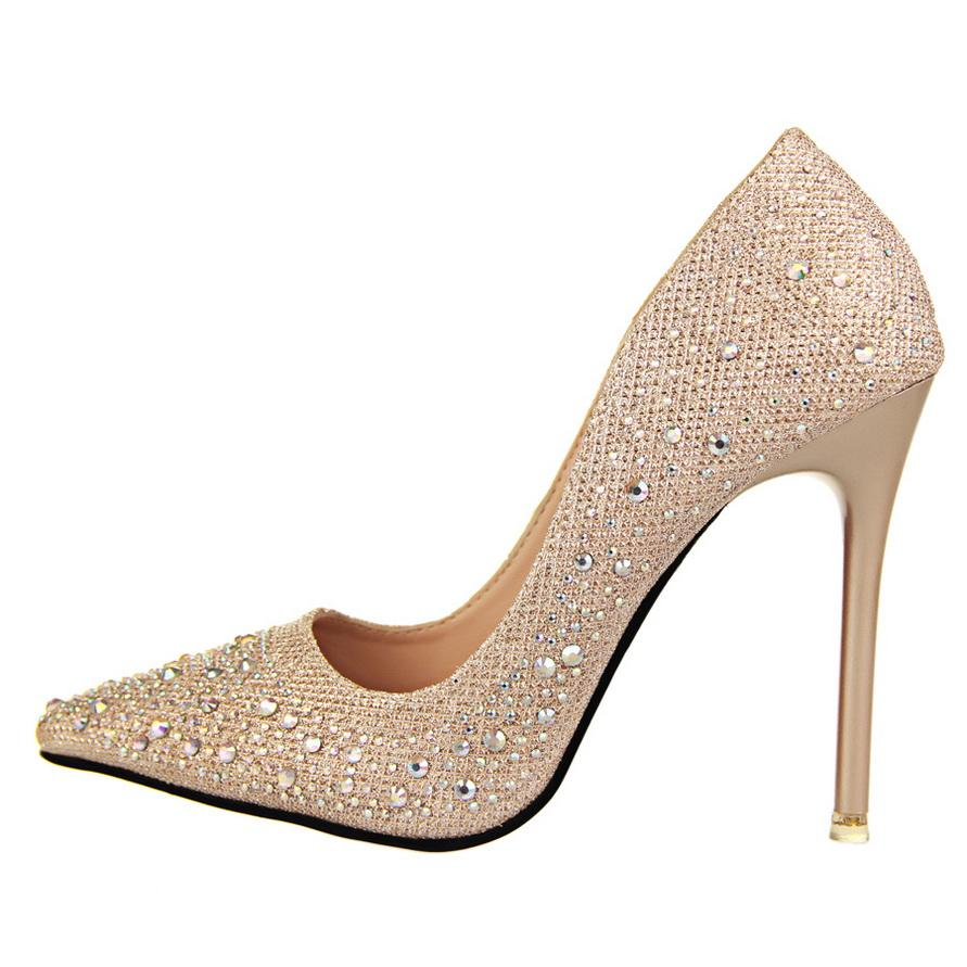 New Women Pumps Sexy Black Gold Silver High Heels Shoes Fashion Luxury Rhinestone Wedding Party Shoes