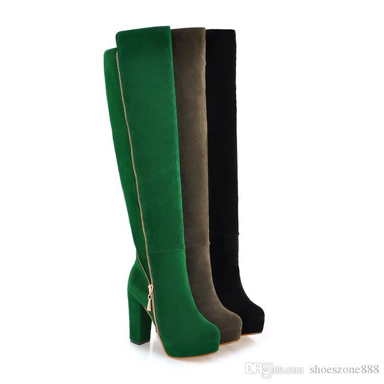 weibliche Winter Oberschenkel hohe Stiefel Plattform Faux Wildleder über das Knie Stiefel Damen High Heels dicke Fersen plus große Größe: 35-43