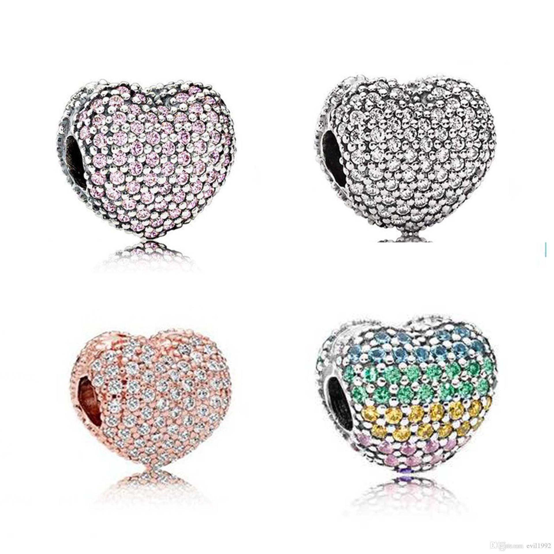 20pcs 합금 완전 크리스탈 심장 비즈 매력 Pandora DIY 쥬얼리 유럽 팔찌 뱅글 여성 소녀 최고의 선물 B018
