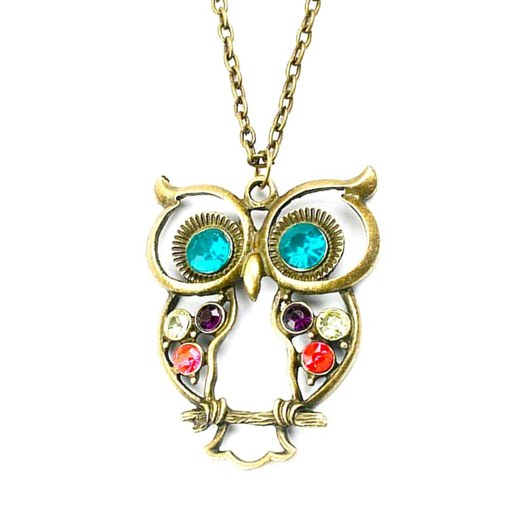 Cute Colorful Rhinestone Hollow Out Owl Pendant Necklace Fashion Jewelry