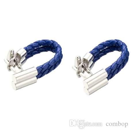 핫 세일 블루 가죽 체인 커프스 단추 건강한 커프스 링크 직조 커프 단추 Gemelos Men Jewelry Drop Shipping 248