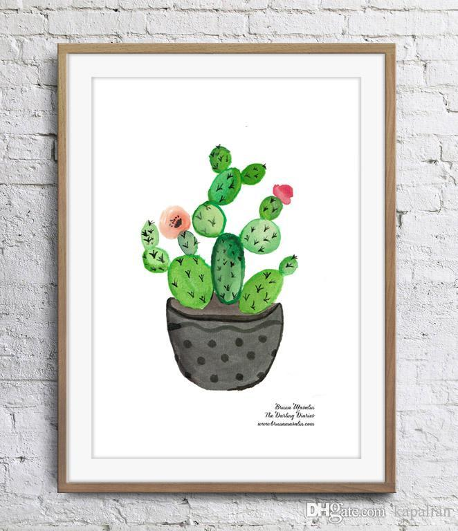 2019 Cactus Painting Minimalism Art Poster Print Wall Decor Painting Canvas Unframe 16 24 36 47 Inches From Kapalian $9 64