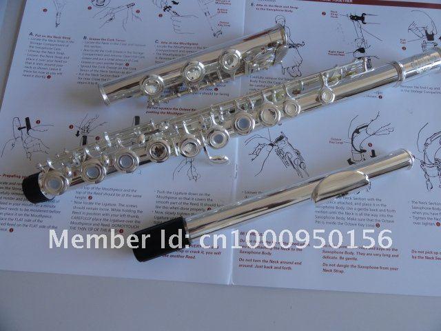 Suzuki 17 Foro Aperture Inoltre il tasto E C Flauto Coda del tubo Tipo di colonna Superficie d'argento di flauto strumenti musicali con il caso