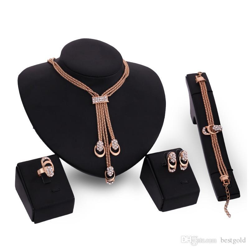 Dubai 18 K Oro Colgante Cadena Flor Conjuntos de Collar de Moda Diamante Africano Boda Conjuntos de Joyería Nupcial (Collar + Pulsera + Pendientes + Anillo)