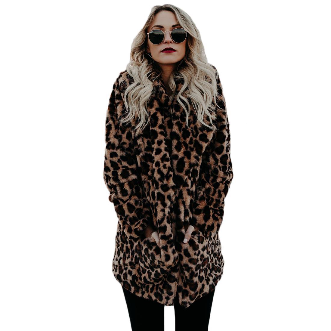 All'ingrosso-YJSFG HOUSE di alta qualità di lusso faux fur coat per le donne cappotto inverno caldo moda leopardata pelliccia artificiale giacca da donna
