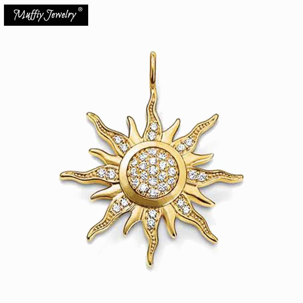 Golden Sun Pendant,TS Style,DIY Jewelry Accessories For Women,2017 Ts Gift In Pure Gold Color,Fit for Necklace and Bracelets
