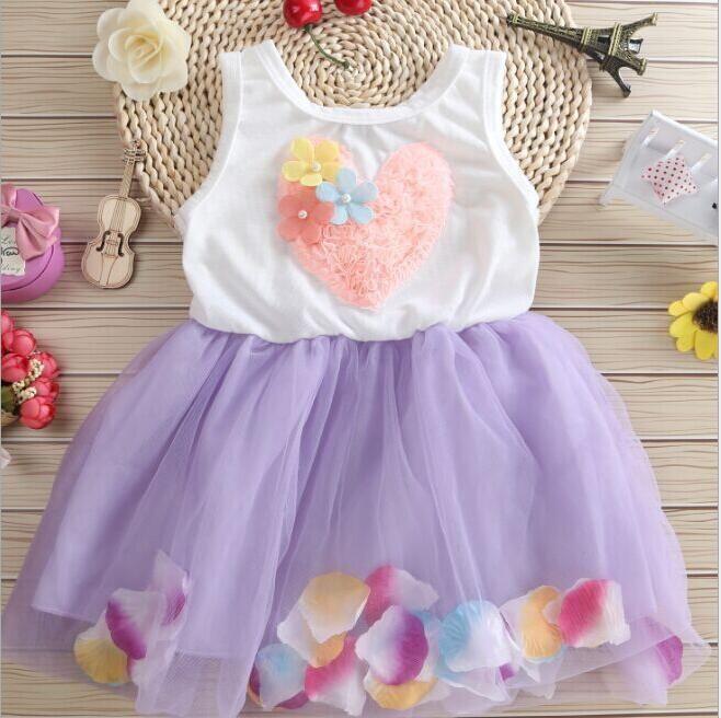 Cotton Summer Dress 2018 Baby Girls Clothing Tutu Party Baby Dresses Petals Hem Chiffon Girl Newborn Floral Princess Dresses