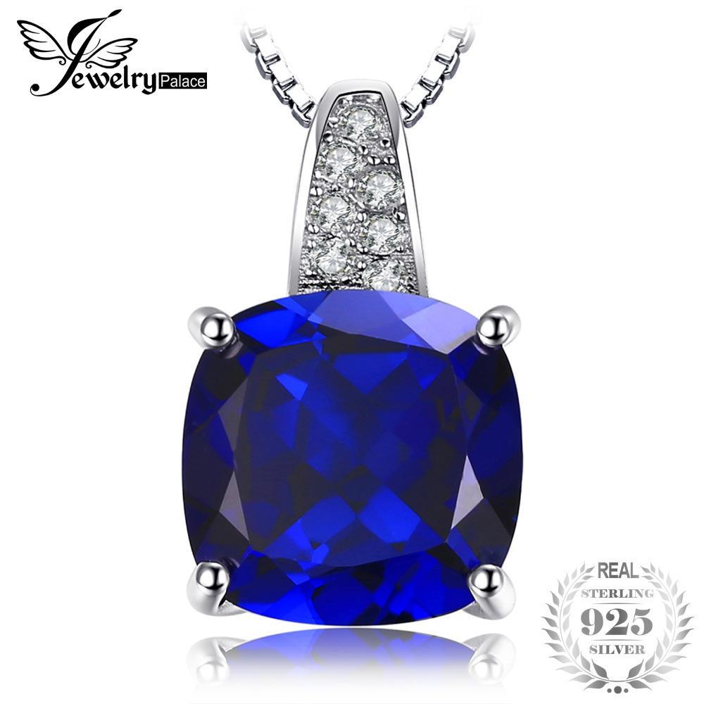 JewelryPalace 4.8 ct Cushion Cut Créé Pendentifs Saphir Bleu Pour Femmes en Argent Sterling 925 Fine Jewelry Fine Jewelry Pas de Chaîne S18101308