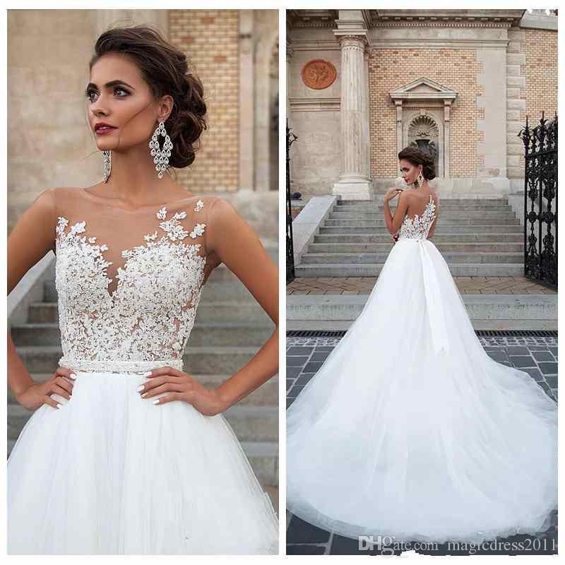 Sheer Shoulder White Lace A Line Wedding