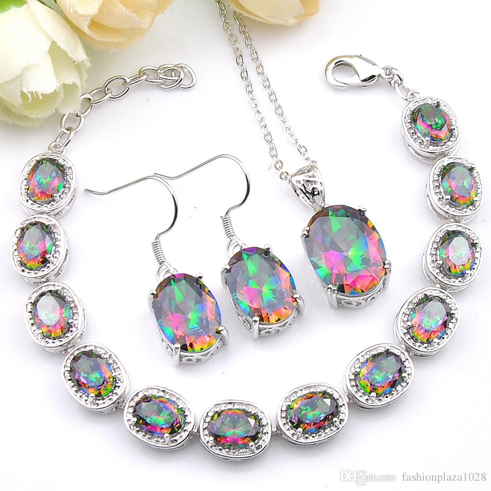 Gioielli Set ovale regalo 3 pezzi di gioielli da sposa colorato Topaz mistico Prasiolite 925 collana in argento zircone Bracciali Orecchini Pendenti