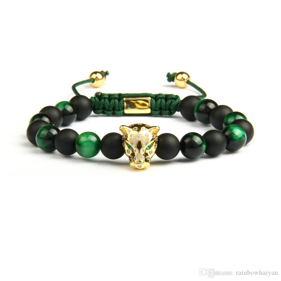 Men Panther Cz Bracelets Wholesale 8mm Natural Matte Agate & Green Tiger Eye Stone Leopard Macrame Jewelry