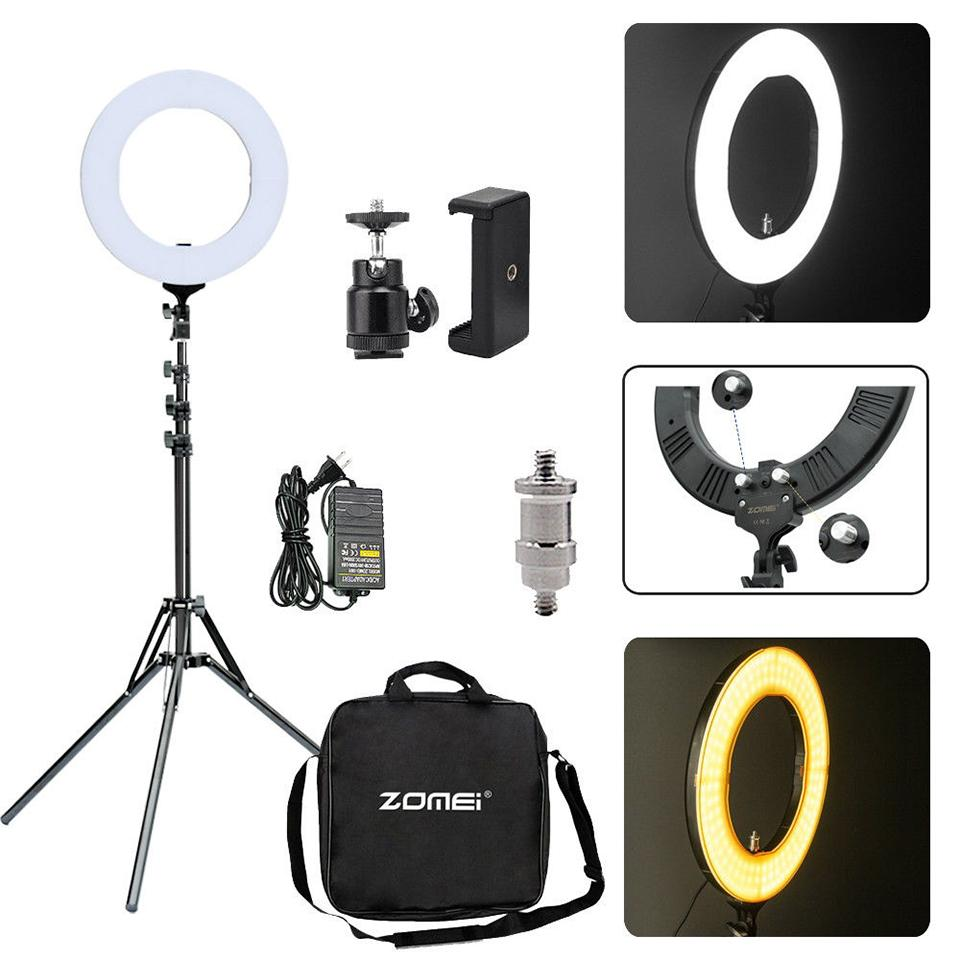 "gros 14 ""Dimmable Photographie LED Ringlight Selfie Trépied Photographique 3200-5600K caméra photo maquillage pour la diffusion en direct"
