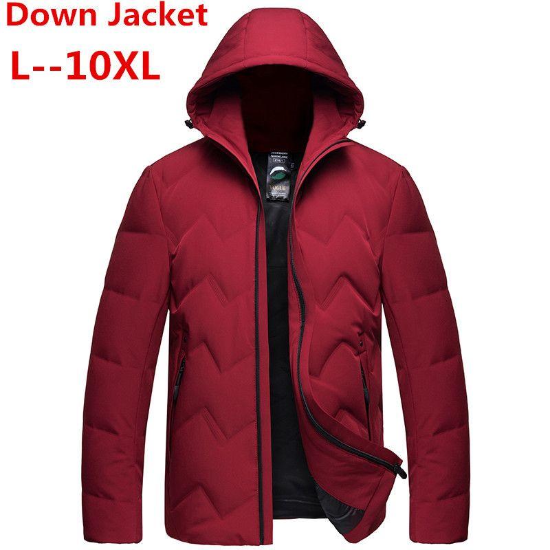 8XL 7XL 6XL Marca de ropa para hombre 2018 Invierno Nueva chaqueta de abajo Moda Casual con capucha gruesa caliente blanco pato abajo chaqueta masculina