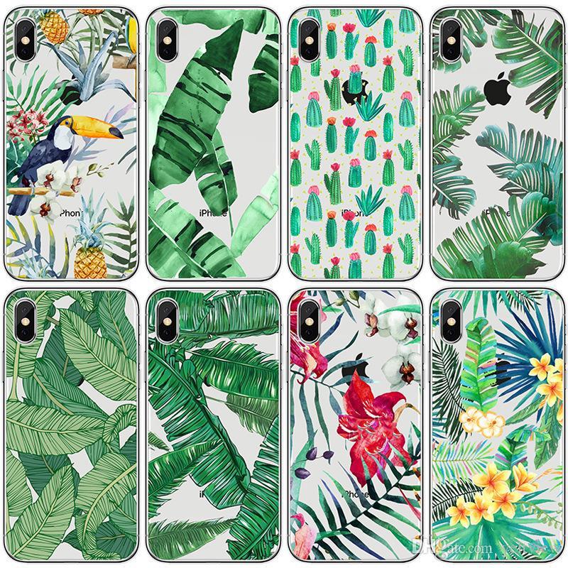 Caja del teléfono de la selva tropical de la impresión 3D Gel suave para el caso del iphone x Hoja del pájaro de la planta tropical modelo para el iPhone 5 6 7 8 más