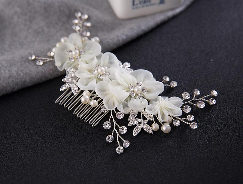 Bridal Hair Combs for Bride Pearls Crystal Bridal Hairbands Wedding Veil Dress Comb Bridal Headpieces Silk Flower Headdress Hair Accessories