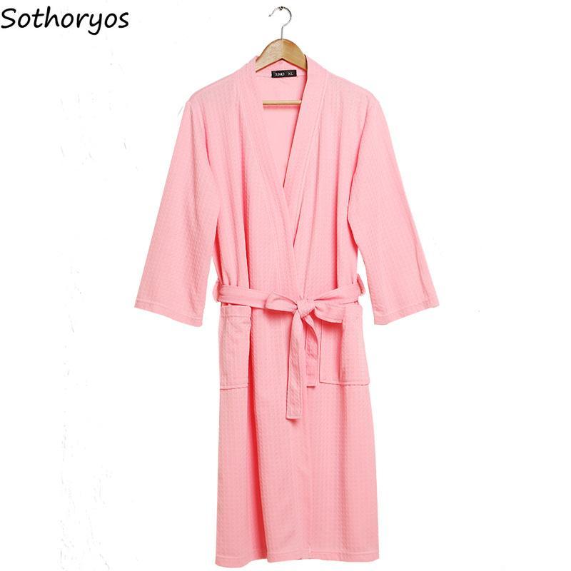 Женские мантии для пиджаков Одежда женская Сплошная тонкая мягкая вафли модный простым длинным рукавом карманные ванны халат женские корейские каваи ежедневная домашняя одежда