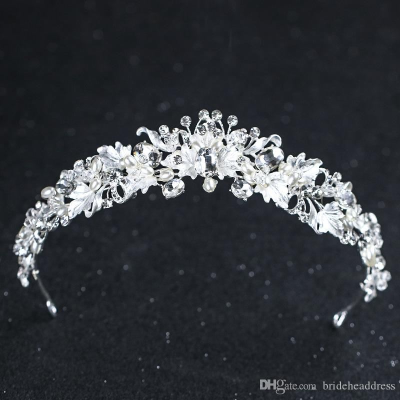 Rhinestone flor de la perla nupcial coronas hechos a mano de oro de la vendimia diadema de cristal diadema corona de la boda accesorios para el cabello