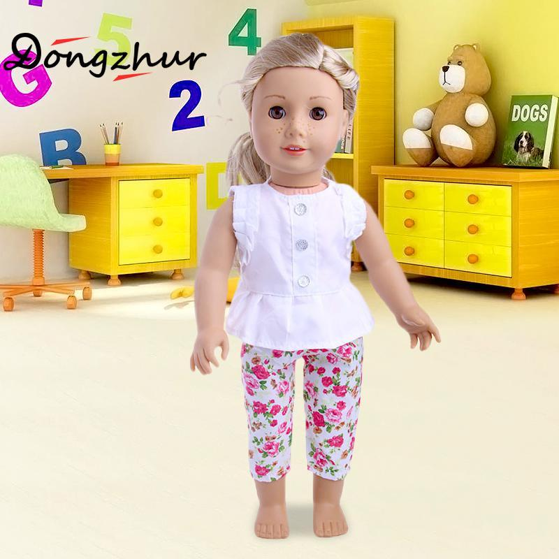 "1 Set 18"" American Girl Doll Clothes And Accessories White Shirt And Flower Trousers 18 inch American Girl dolls clothes ingbaby"