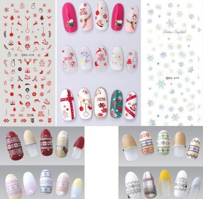 Livraison gratuite 100pcs / lot Big Sheet nail sticker DS473-479 Noël